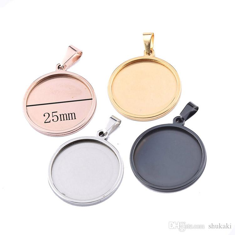 Shukaki Round 25mm Cabochon Base Stainless Steel Blank Cameo Settings Wholesale Diy Pendant Trays For Jewelry Necklace Pendant Making