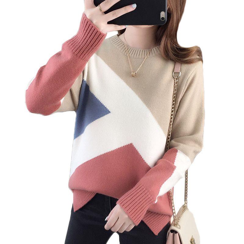 Renk eşleştirme Süveter Kadınlar Kazak 2019Autumn Kış Elbise Yeni O-boyun Örme Triko dibe Gömlek Kadın Tops Uzun kollu