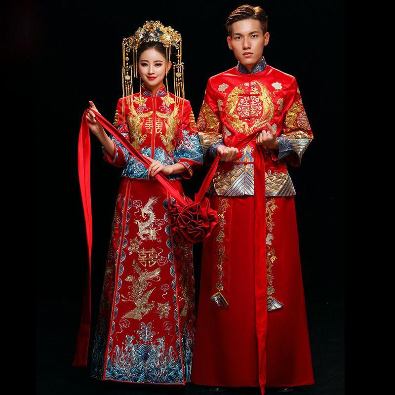 빨간 중국 스타일의 결혼 결혼 드레스 드래곤과 피닉스 로딩 남성과 여성 전통 Hanfu 자수 고대 의상