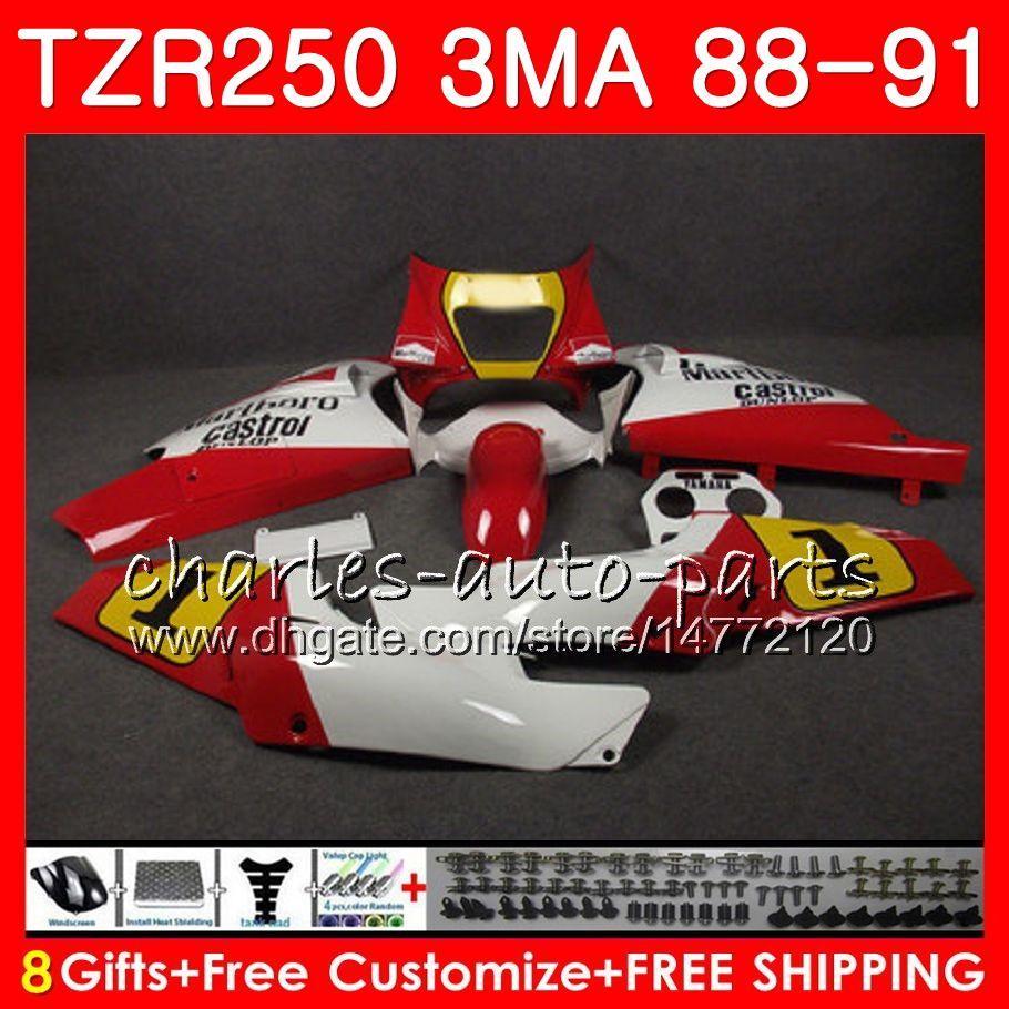 Corpo per fabbrica YAMAHA bianco TZR250 3MA TZR 250 RS RR YPVS TZR250RR 118HM.75 TZR-250 88 89 90 91 TZR250 1988 1989 1990 1991 Kit carene