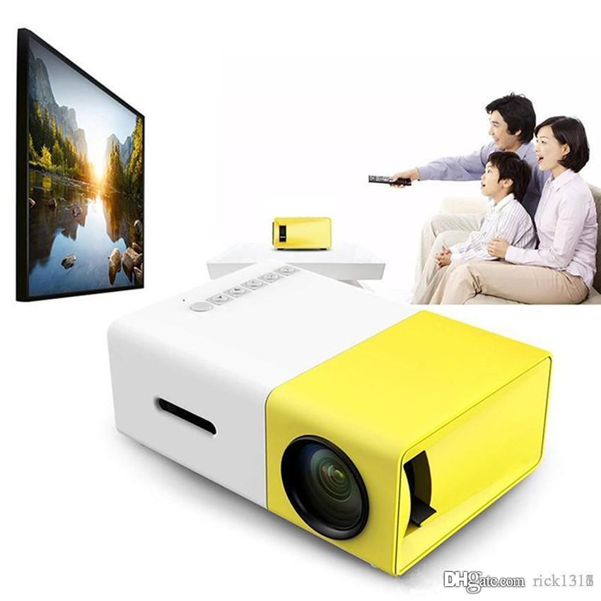 EUB بيع المصنع YG300 LED المحمولة العارض 400-600LM الصوت 3.5mm 320 × 240 بكسل YG300 HDMI USB ميني بروجكتور الرئيسية ميديا بلاير