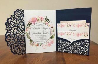 2019 Affordable Wedding Invites Laser Cut Pocket Wedding Invitation Suites Customizable Invites With Envelope Blank Inner Custom Printed