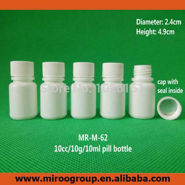 100 + 2pcs 10ml 10cc 10g botella de píldora de envases de plástico pequeños con tapas de sellado, botellas de medicina de píldora de plástico redonda blanca vacía