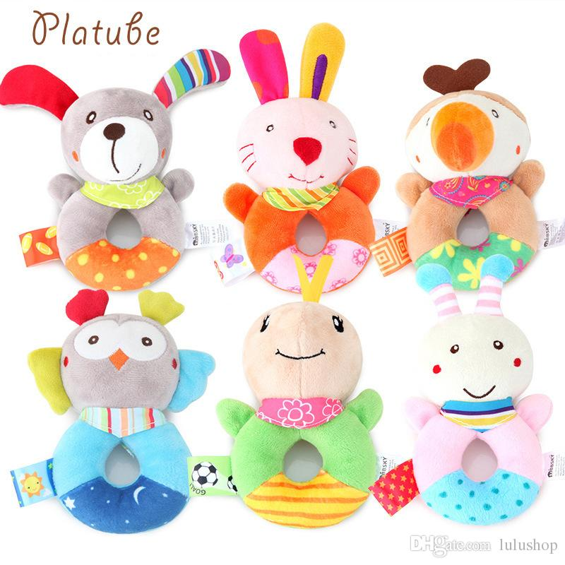 3psc/lot Infant baby rattle baby comfort plush doll cute cartoon animal bell baby toy