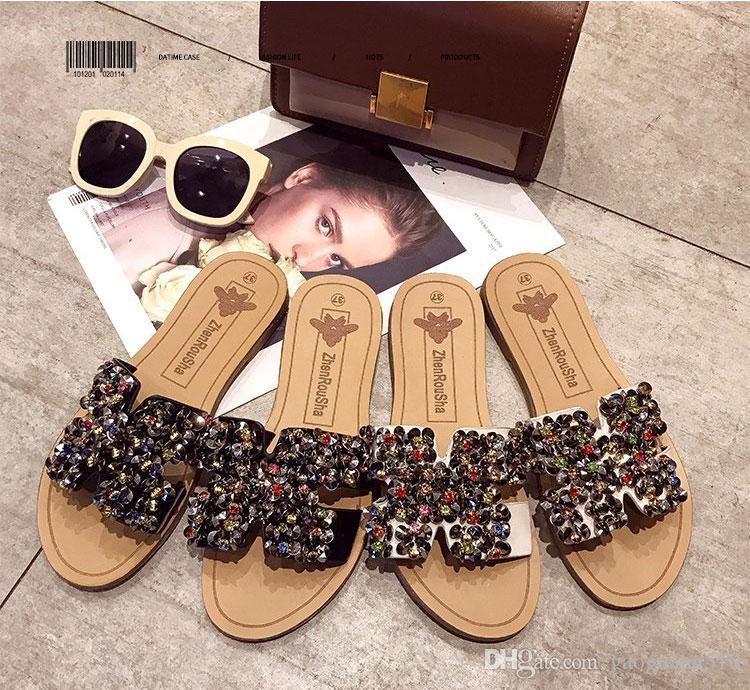 Тапочки летом носить модные женские туфли 2019 нового слово плоского дна горного хрусталя корейской версия сандалии пляжной обуви