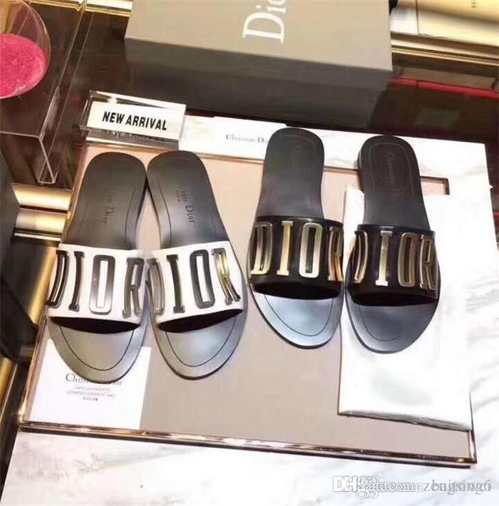 CAUTION! HOT Branded Women Print Leather Nomad Sandal Designer Leather Outsole Perfect Flat Canvas Plain Sandal Size35-41