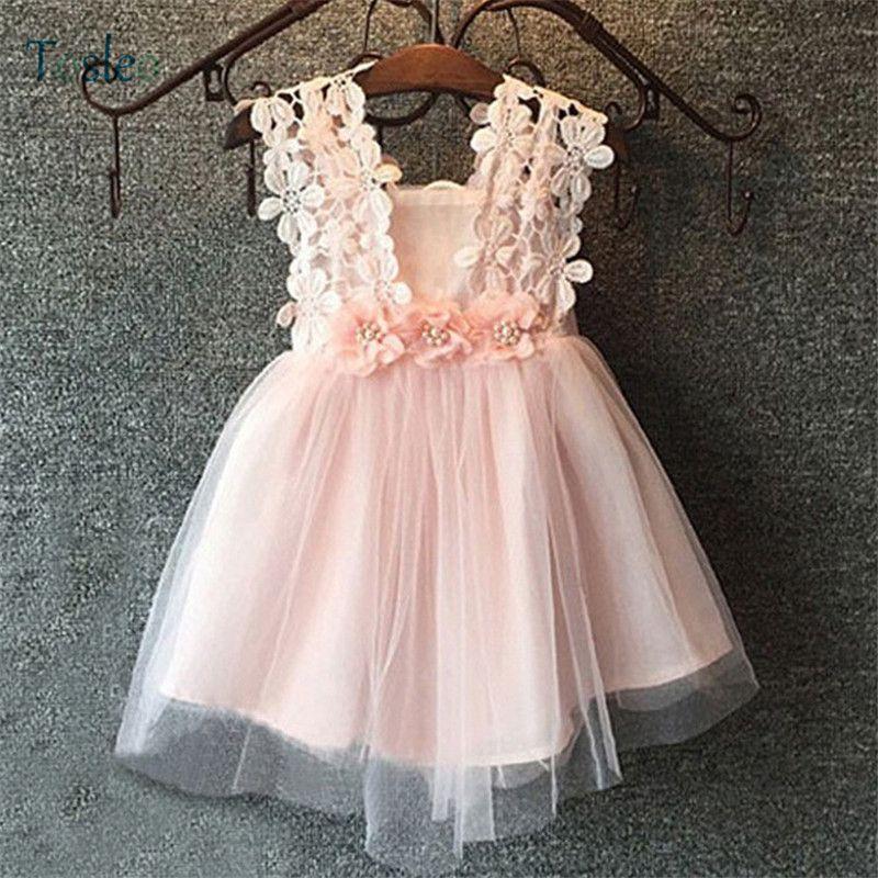 Bébé filles robe sans manches été Infant Toddler Party Dress dentelle mignon avec noeud papillon à l'arrière Sexy filles vêtements photographie robe J190506