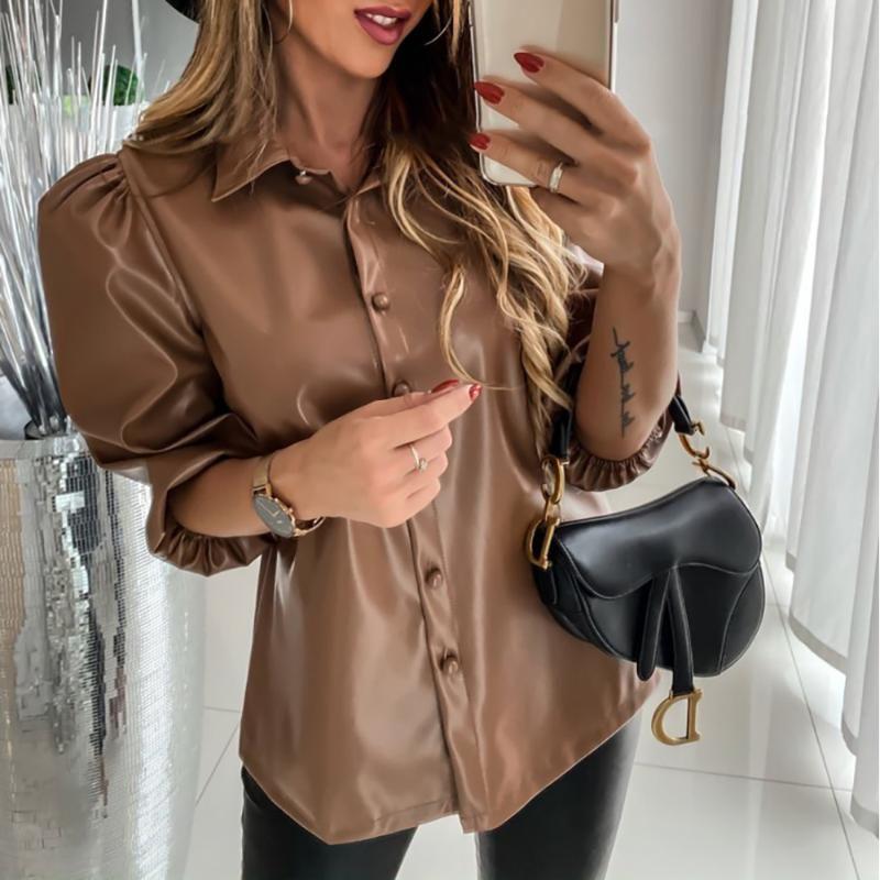 Кожаные рубашки Блузы Женщина 2020 Новый Повседневный Прицепной отворота рукав Хаки Tops весна осень дама Кнопка PU Рубашка Женщина Блузка D30