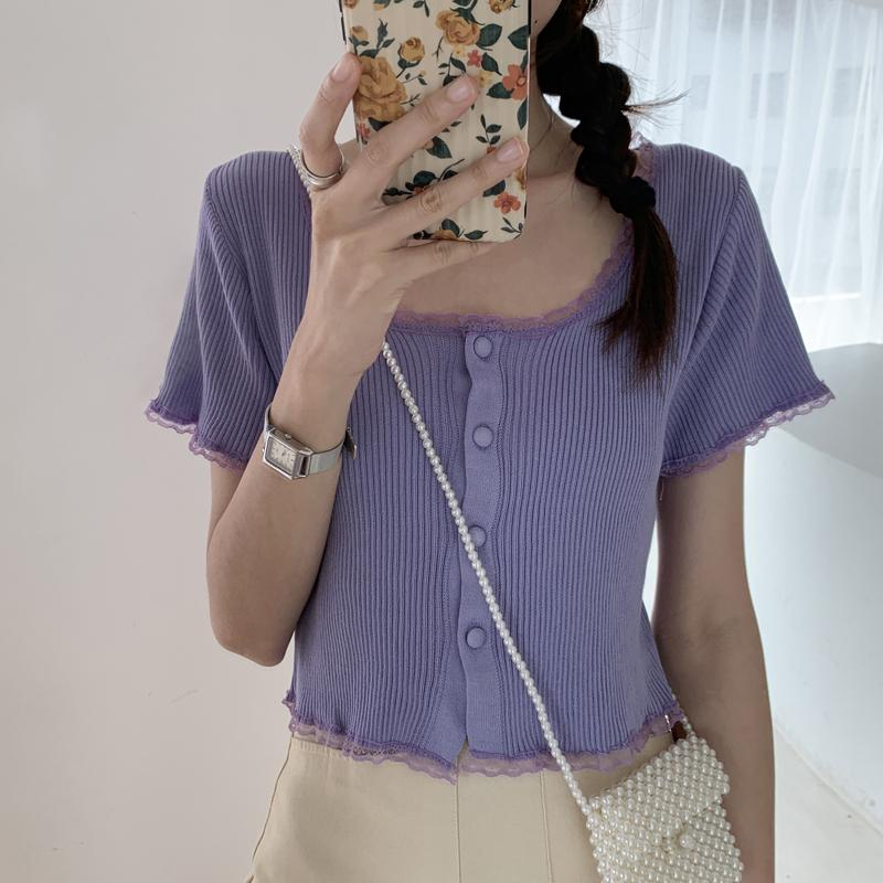 lilac Short-sleeved summer cardi