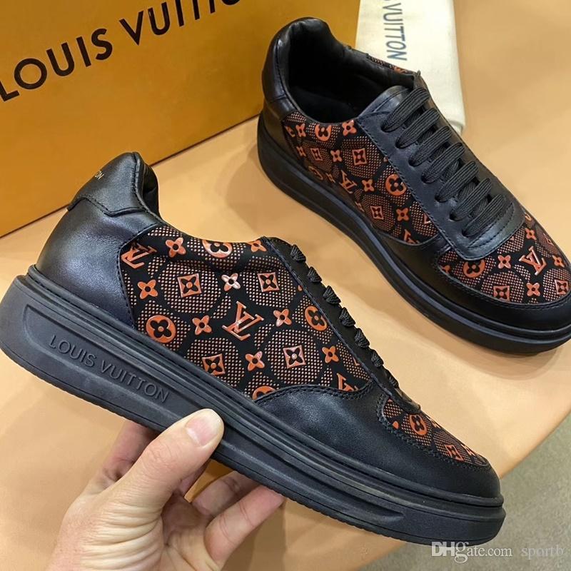 Louis vuitton 2020 C1 neue Art und Weise der beiläufigen Männer Schuhe, High Quality Gemütlich Luxus Herrenschuhe Lederturnschuhe ursprünglicher Kasten Verpackung Zapatos Hombre