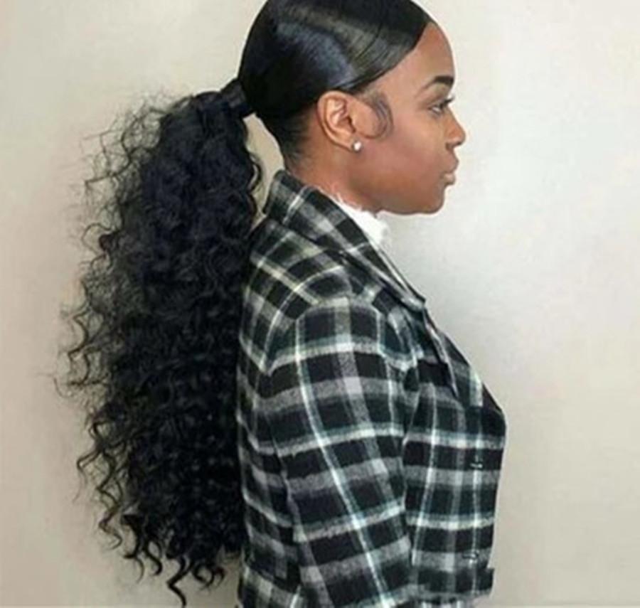 vendita della fabbrica 100% 160g vergine brasiliana con coulisse estensione dei capelli ricci crespi coda di cavallo umana per la donna nera