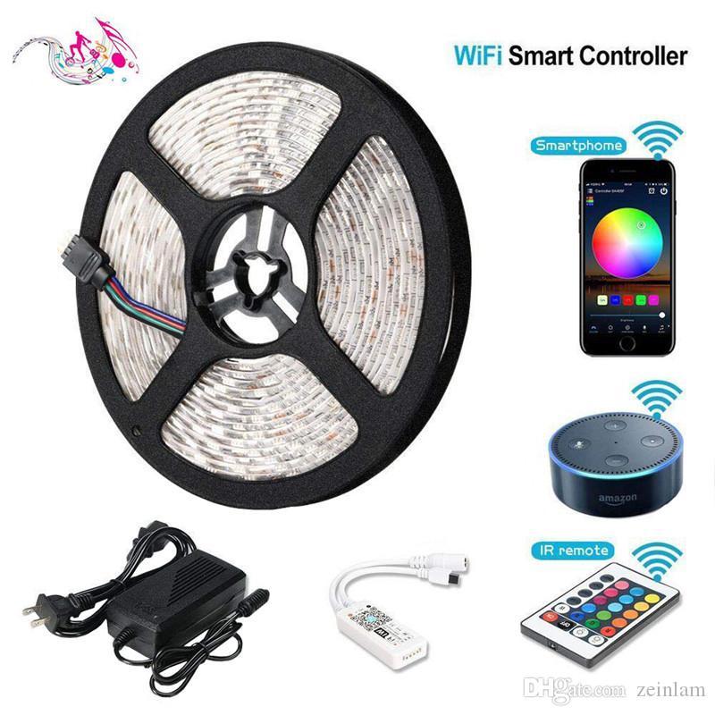 Tira de luz LED RGB flexible 16FT 5050 SMD 5M 300 LED con 44key IR CONTROL REMOTO
