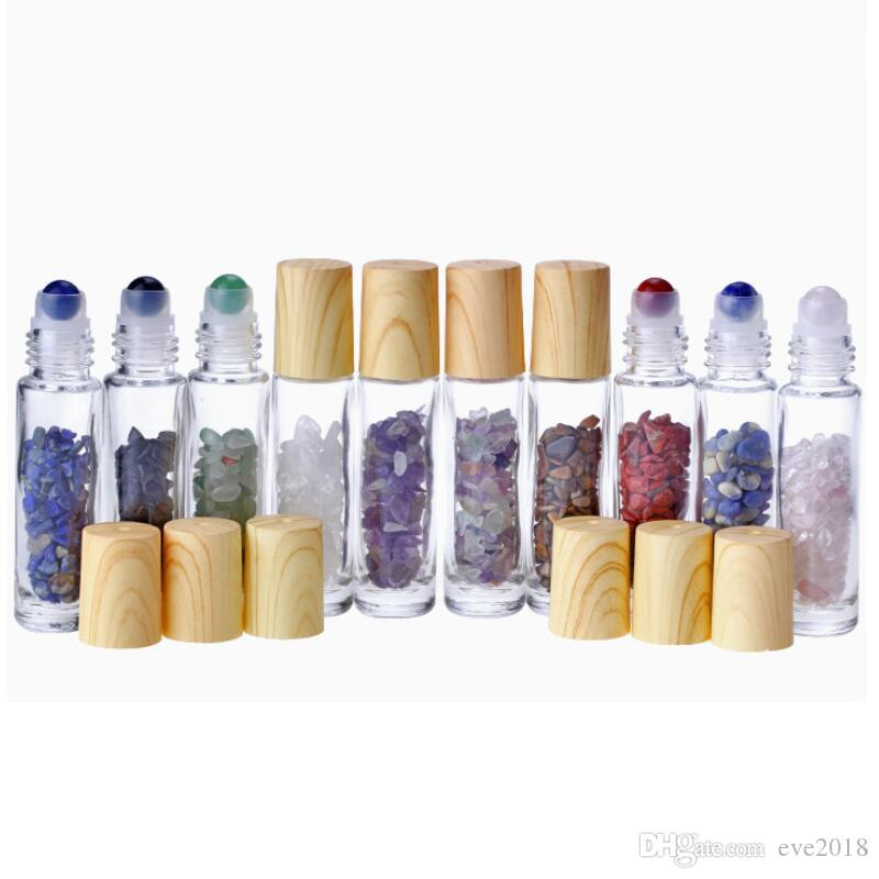 10 ml Limpar rolo de vidro no frasco de perfume com Natural de cristal de quartzo Pedra Crystal Ball Veio de Madeira Capa Essencial LX8428 frasco de petróleo