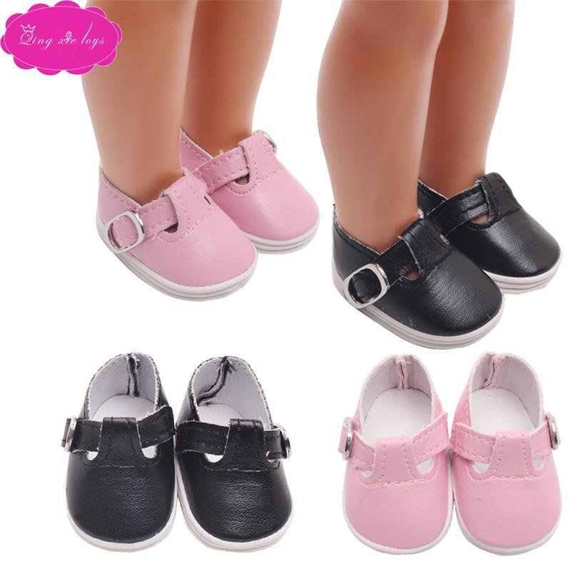 chaussures de riz faites à la main 14,5 pouces rosée poupée simples chaussures plates en cuir fin de fabrication