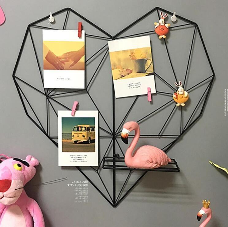 المعادن شكل قلب صورة شبكة الإطار جدار صور شبكات بريدية شبكة الإطار الرئيسية نوم diy الديكور الحديد تخزين الرف حامل