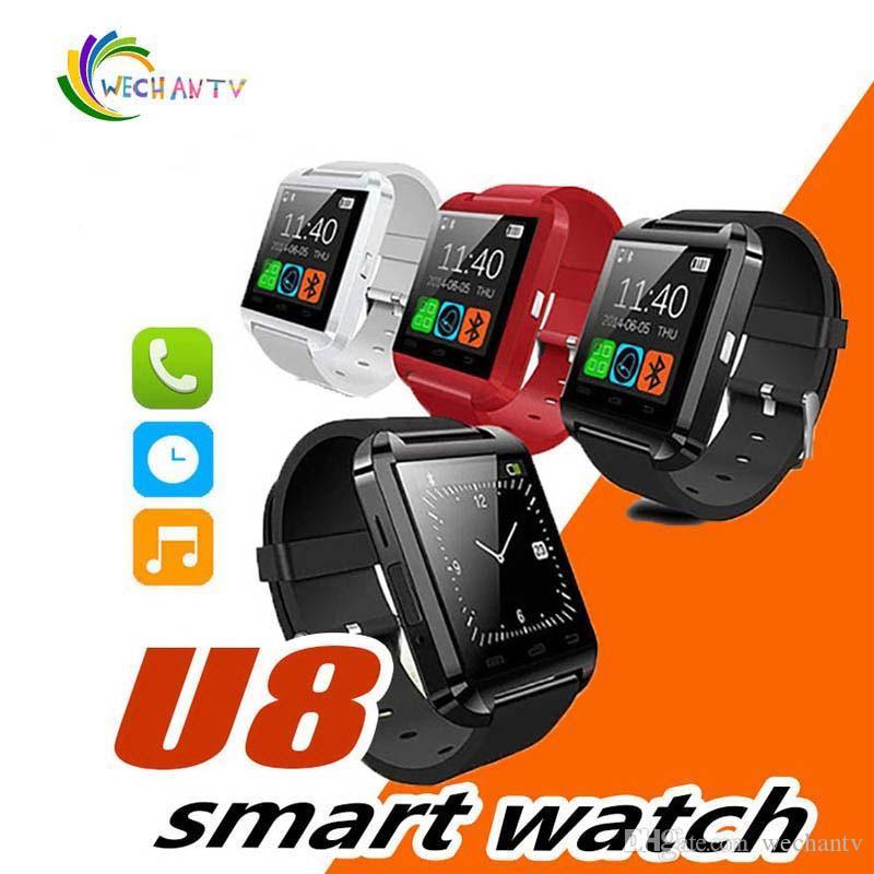 Bluetooth U8 Smartwatch Relojes de pulsera Pantalla táctil para iPhone 7 Samsung S8 Android Teléfono Monitor de sueño Reloj inteligente