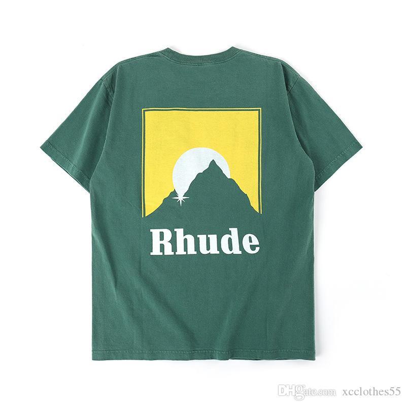 Rhude 2020 gritando niño camiseta Chris Brown con cuello redondo high street manga corta Camiseta hombres moda suelta camiseta