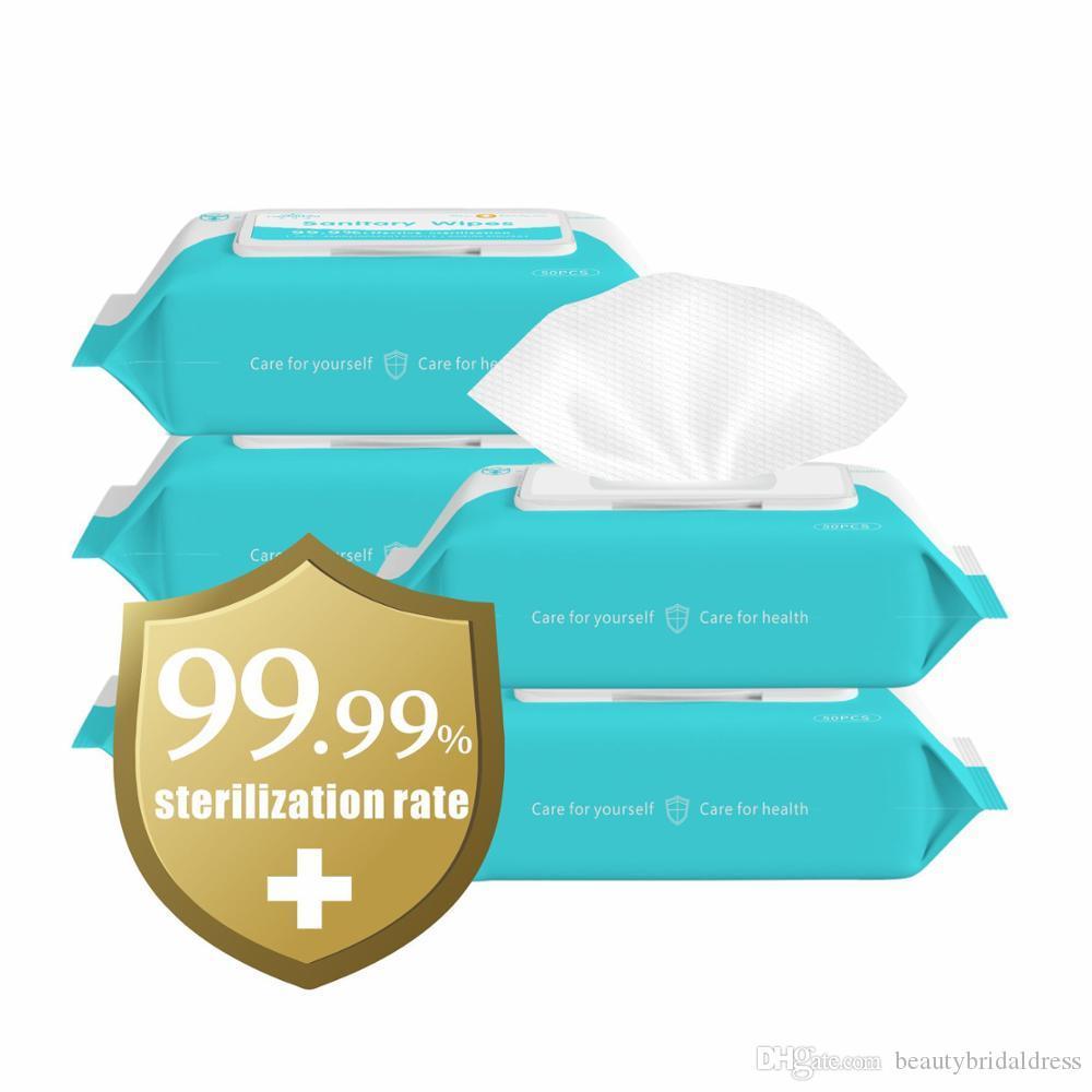 DHL 무료 50PCS / 가방 75 % 알코올 살균 세척제 휴대용 살균 패드 면봉 물티슈 스킨 케어 물티슈