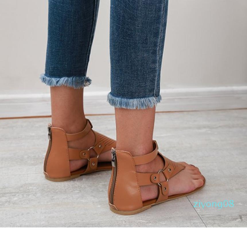 Frauen Sommer Strand Sandalen Wohnungen Schuhe Frau Gladiator Quer gebunden einfach plus Größe PU Sandalen mujer sapato feminino Z08