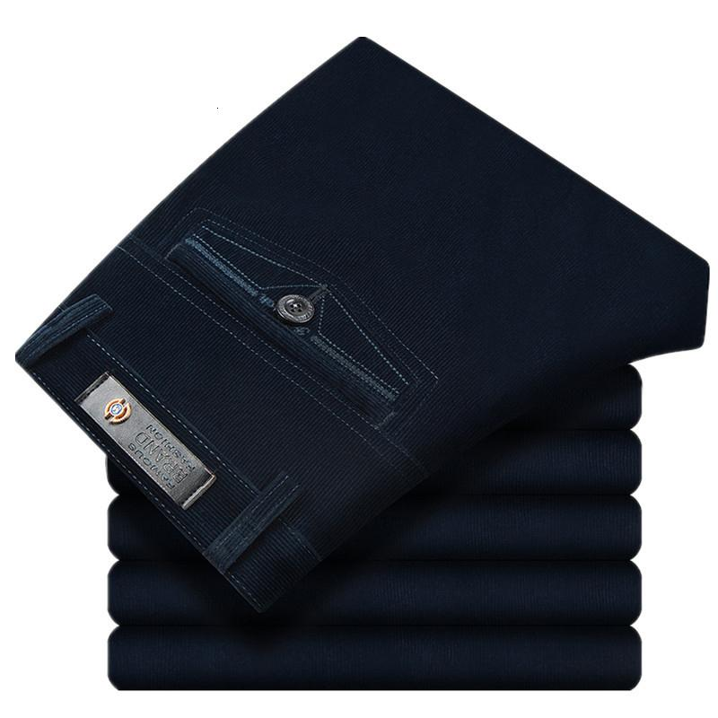 Outono Primavera calças de veludo calças de lazer dos homens de cintura alta de lavagem e uso casual de negócios de veludo calças retas de meia-idade CJ191213
