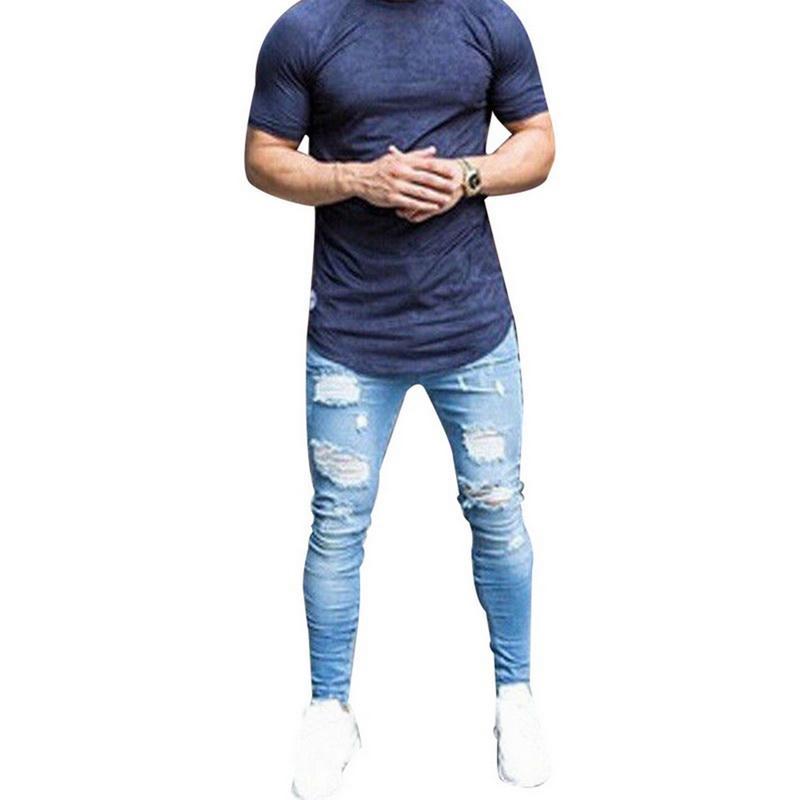 Meak Sıska Mavi Kot Erkekler Sonbahar Vintage Denim Kalem Pantolon Rahat Streç Pantolon 2019 Seksi Delik Yırtık Erkek Fermuar Jeans 3XL