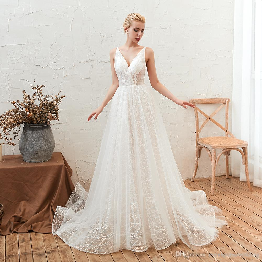 discount m28346 spaghetti straps white ivory discount wedding dresses lace  applique beach wedding gowns low back bridal shower dresses trendy wedding