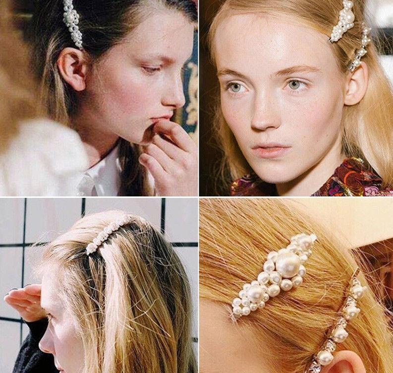 Elegant Crystal Pearl Barrettes Hair Clip Hairpin Headdress For Women Girls