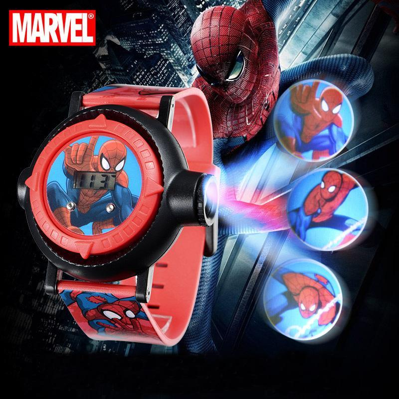 Marvel héroe Spider-Hombres Niños interés Relojes proyector 10 Patrones Niño del estudiante Reloj Digital regalo Fácil Tiempo de lectura del cabrito Nuevo reloj xWGlj