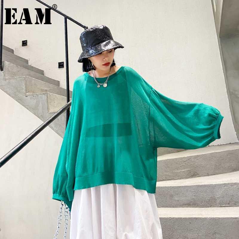 [EAM] Le donne multicolori verde a maglia di prospettiva di grande formato T-shirt Nuovo girocollo maniche lunghe Moda primavera-estate 2020 1T835