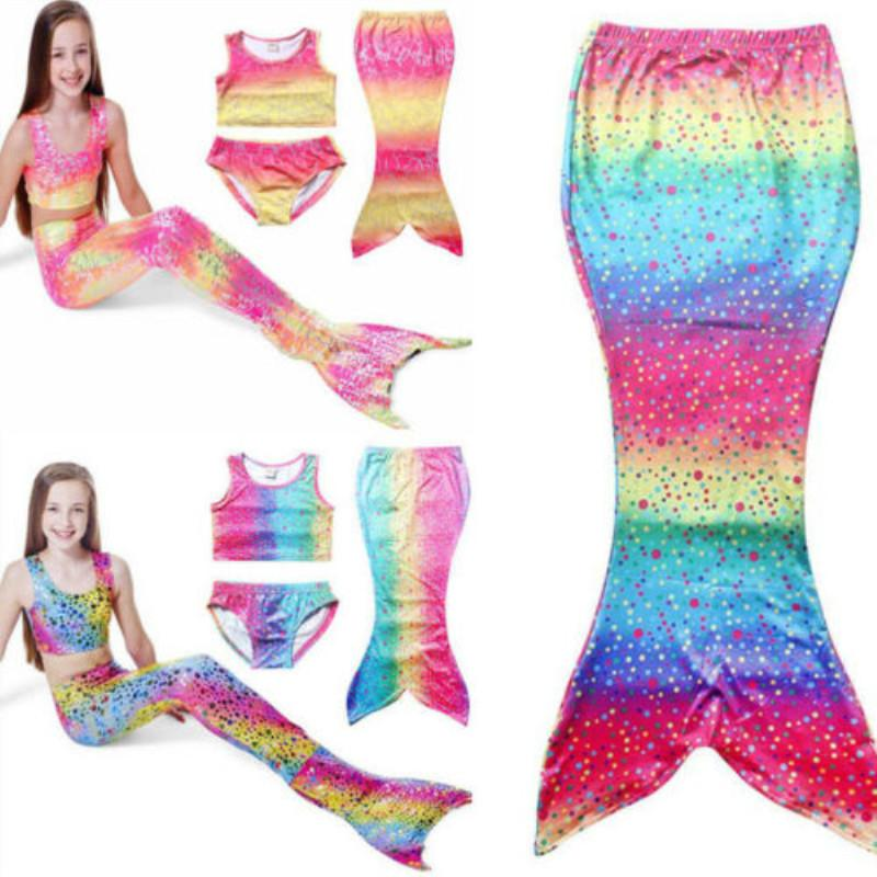 Filles Enfants baignable Mermaid Tail Sea-fille Bikini Piscine Costume Set 4-8T