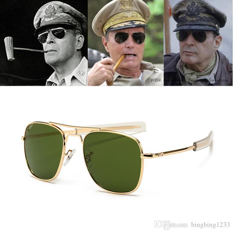 Vintage moda Havacılık AO Güneş gözlüğü Erkekler lüks Marka Tasarımcı Güneş Gözlükleri İçin Erkek Amerikan Ordusu Askeri Optik Cam Lens