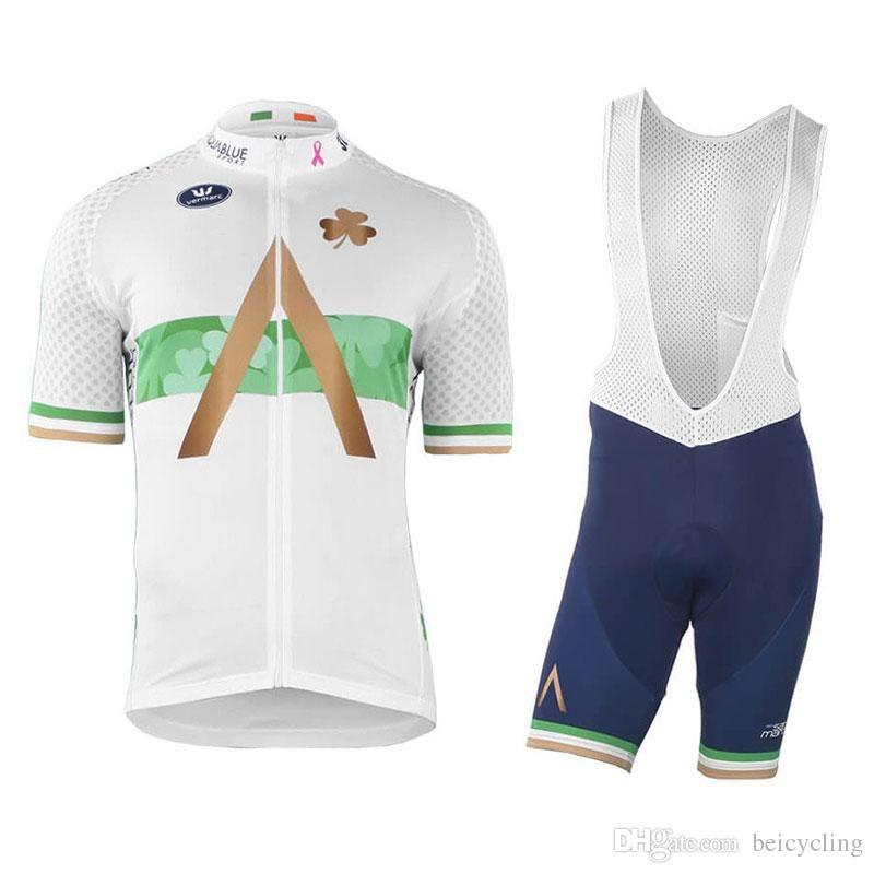 2018 Maillot cyclisme Maillot Ciclismo à manches courtes et cyclisme (bavette) de vélo de vélo Short Kits Sangle Ciclismo de B18091701