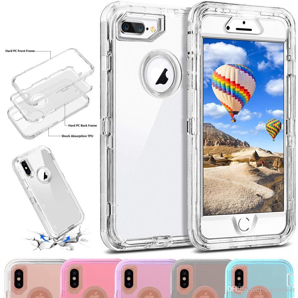 Per iPhone 12 Mini 11 Pro X XR XS MAX 8 7 6S PLUS Plus Custodia robot trasparente 3in1 Custodia per cellulare senza clip