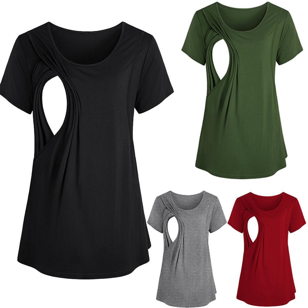 Mulheres Maternidade Enfermagem Amamentação grávida parte superior da camisa Blusa Maternidade alimentação Gravidez maternidade roupas Amamentação