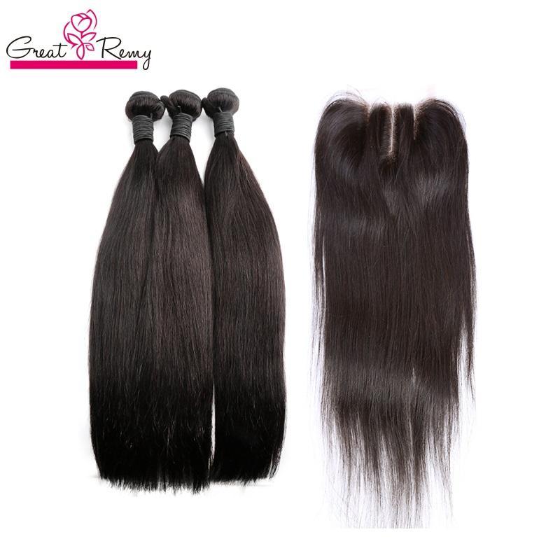 Greaturemy Brazilian Sedky Straight Cabelo de trama com topclosure 4x4 lace fecho para cabeleireiro 4 pcs cor natural humano virginhair tecer