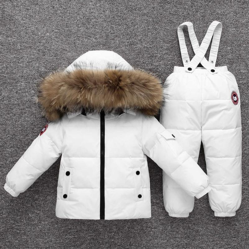 البدلة الدافئة الأطفال -30 ° الشتاء الروسي أسفل سترة لرفع الدعوى طفلة الأطفال لصبي سترة + السراويل التزلج دعوى حشو