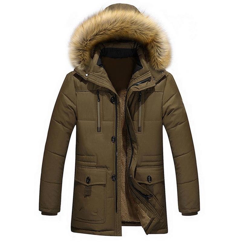 Adisputent Men Hooded Jacket with Pockets Winter Warm Fur collar Men's Patchwork Thick Outwear Male Casual Coats abrigo hombre