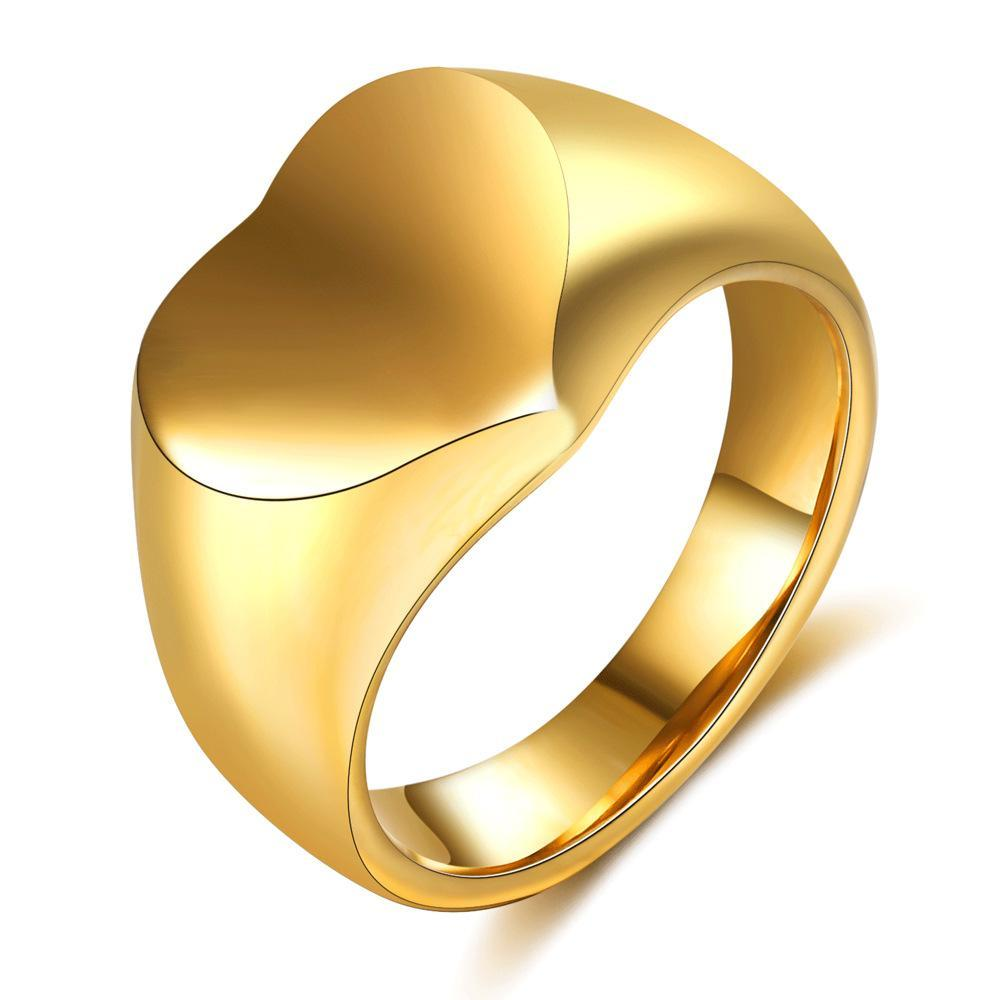New Fashion 18K Gold Plated Lovers Heart Ring Bands Wedding Matching Ring Bands for Men and Women Personalized Valentine Day Gifts Wholesale
