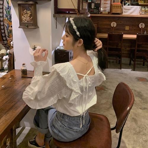 idwKi bxKe6 coreano ins fantasma Cavallo manica senso il disegno del collare quadrato lantern ragazza scompigliò Top Lanternshirt Lanternlong nella top s delle donne della camicia