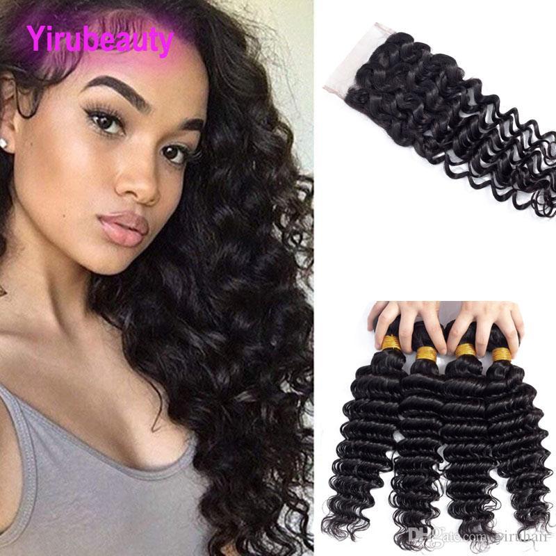 Paquete de cabello humano de Virgen Malasia 3 con trama de pelo de onda profunda de 4x4 con 4 por 4 Cierre de encaje con cabello bebé Yirubizaria