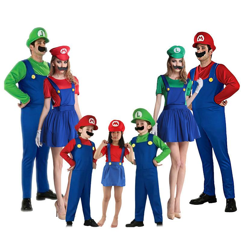 Halloween Costumes Funny Super Mario Luigi Brother Costume Kids