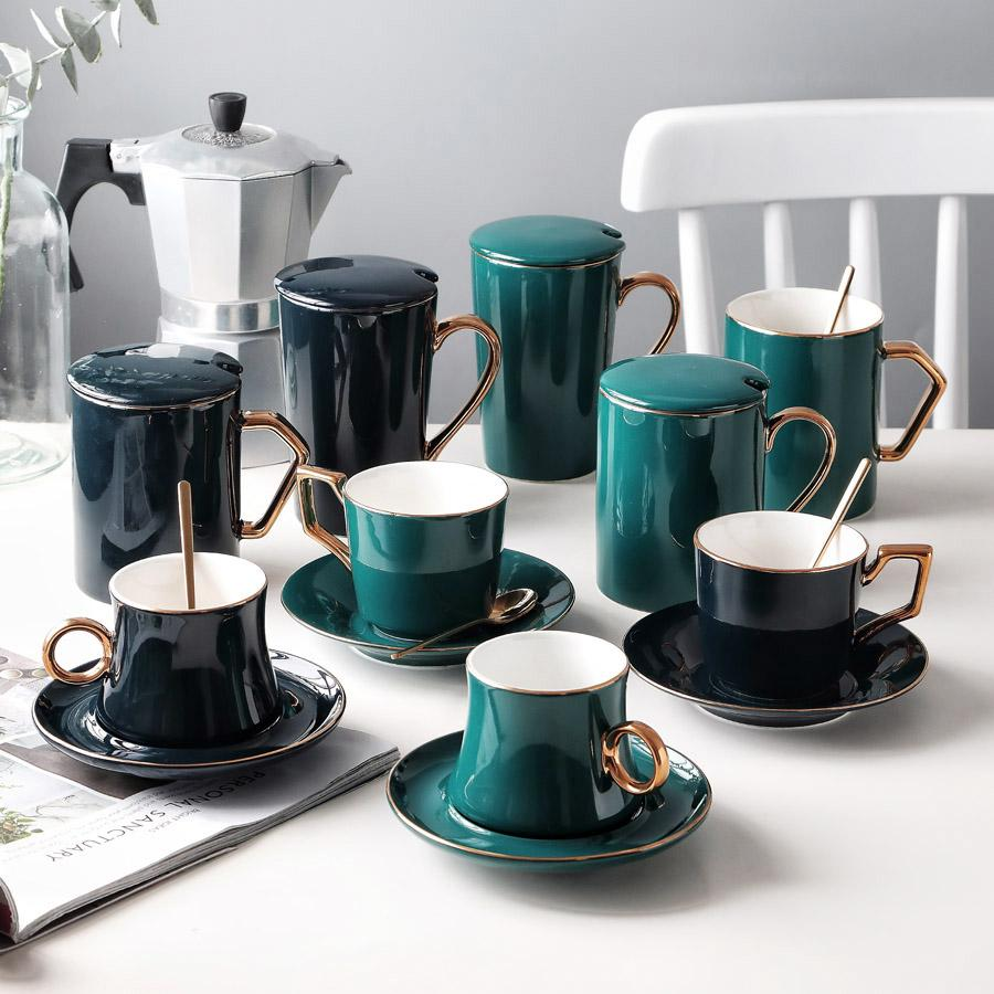 Elegant Ceramic Coffee Cup Set Porcelain Golden Edge Tea Cup and Saucer with 304 Stainless Steel Spoon Ceramic Mugs
