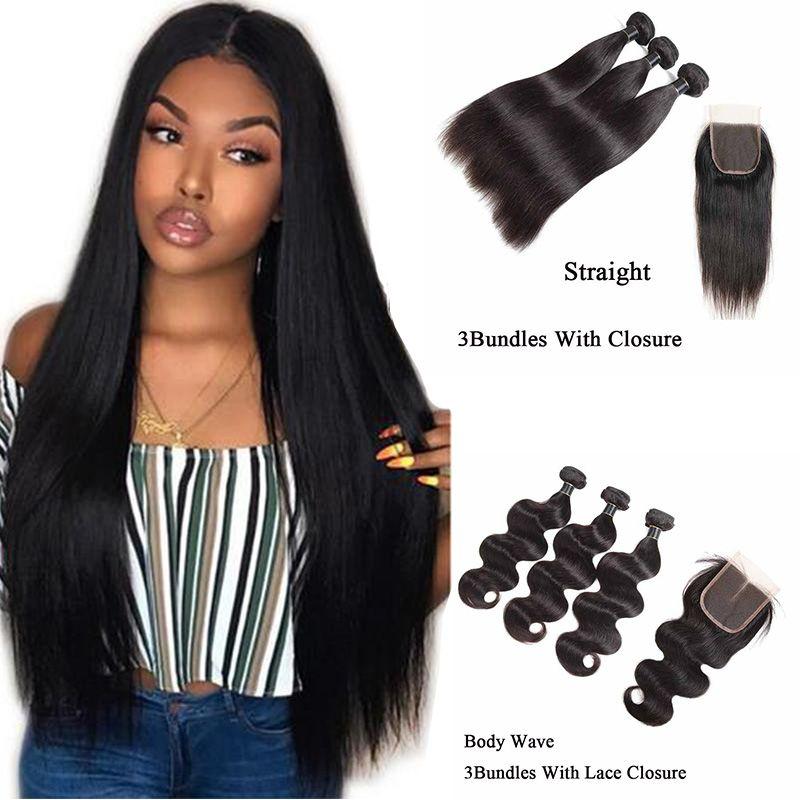 Body Wave Straight 3 Bundles avec dentelle fermeture 8A Remy Human Hair Weave Extensions droit brésilien Human Bundles cheveux avec fermeture