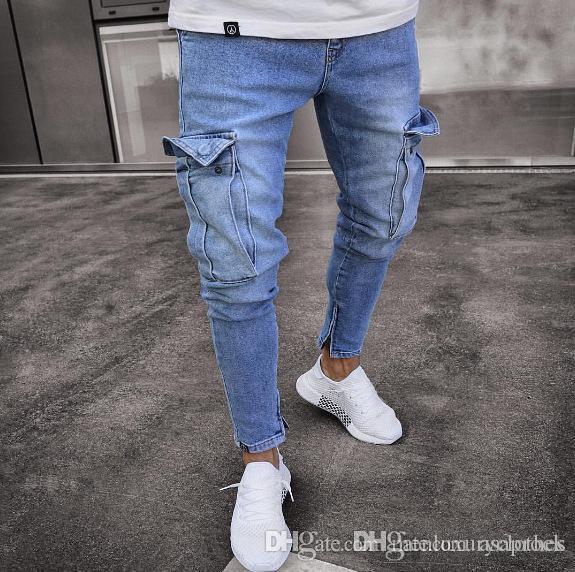 Adolescente Abbigliamento Jeans degli uomini del progettista Jogger Jean grandi tasche dei pantaloni della matita design Zipper Jeans Biker