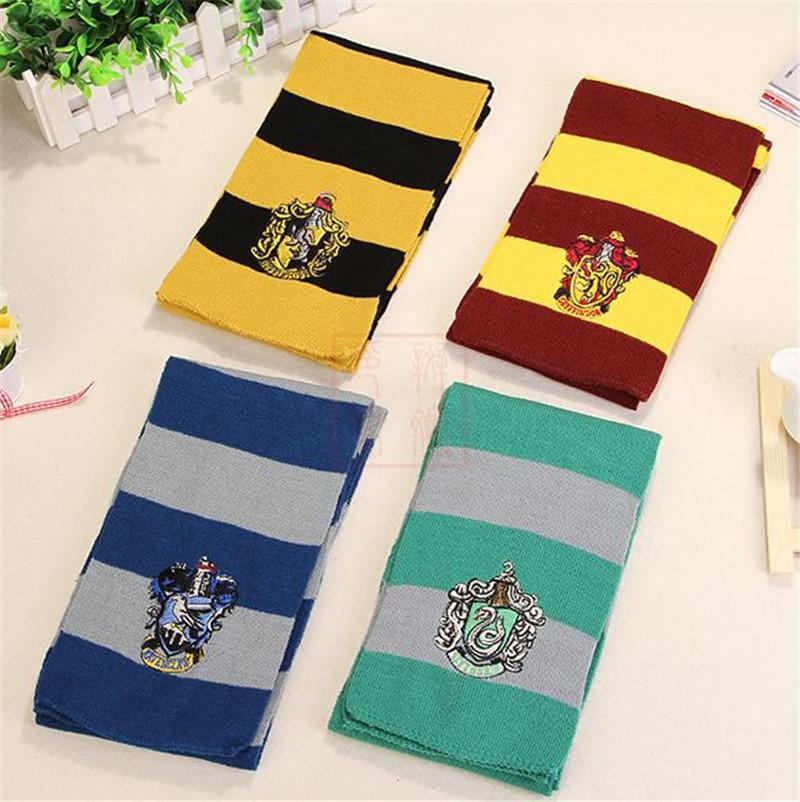 Harry Potter Winter Knitted Scarf Gryffindor Series Badge Cosplay Striped Knit Scarves Halloween Christmas Costumes Gifts 4 Colors
