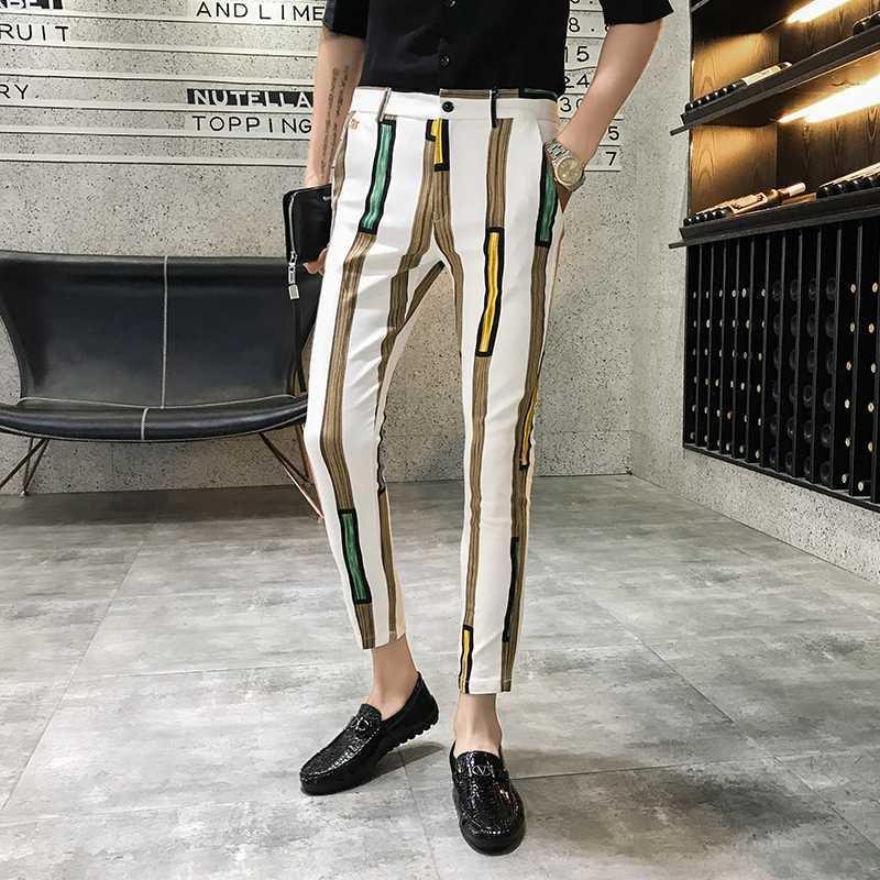 2020 случайных беговых брюки брюки улицы трек брюки мужской гарем платье мода полосатой печать мужских тонких брюк
