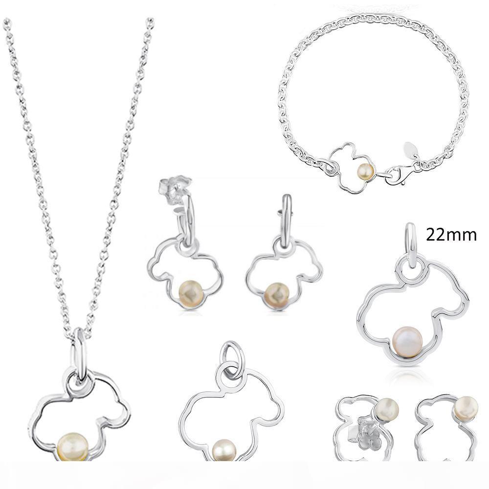 100% 925 joyería de plata esterlina Perla Bear Hollow collar pulsera colgante retro Calidad del regalo de boda de envío gratuito