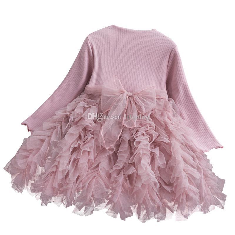 3 Renkler Bebek Kız Prenses Elbise Çocuk Uzun Kollu Örgü Bow Kanat Ekleme Mesh Tutu Elbise Çocuk Kek Etek Tasarımcı Giyim M469