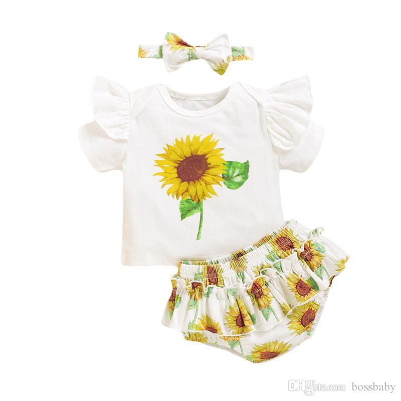 Bebek Ayçiçeği Kıyafetler Bebek fırfır tişört Çocuk Casual Giyim Kız Bebek tulum Çizgili Şort Bebek Giyim Seti 060415 Tops