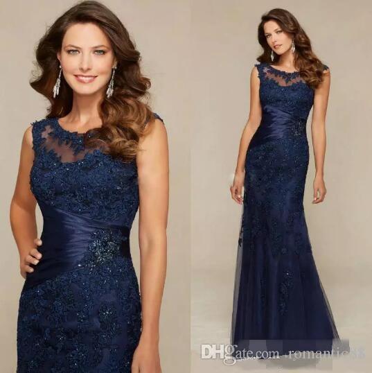 얇은 크루 넥 신부 드레스의 우아한 어머니 새로운 도착 해군 블루 레이스 긴 인어 이브닝 드레스 저녁 파티 가운